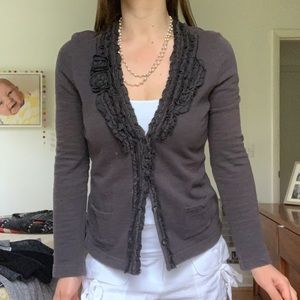 Eddie Bauer XSP frilly, French terry cardigan